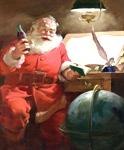The 1951 Coca-Cola Santa Claus artwork shows Santa reviewing his list of good boys and girls; no bad children are listed.